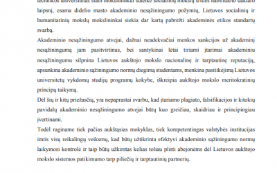Paskelbtas Lietuvos humanitarinių ir socialinių mokslų asociacijų pareiškimas dėl viešojoje erdvėje pasirodžiusių įtarimų dėl KTU rektoriaus akademinio nesąžiningumo