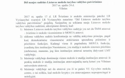 Paskelbta LFD pozicija dėl naujos sudėties Lietuvos mokslo tarybos valdybos patvirtinimo